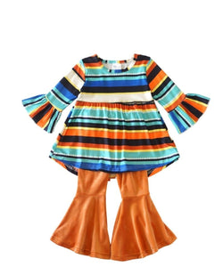 Honey Dew Girls' Striped Tunic With Bell Pants Set- Style #500192