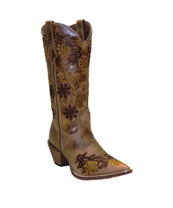 Abilene Rawhide Women's Brown Floral Embroidered Boot- Style #5024