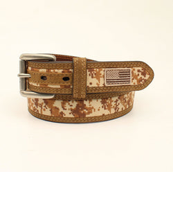 M&F Western Men's Ariat Desert Digital Camo USA Flag Belt- Style #A1035044