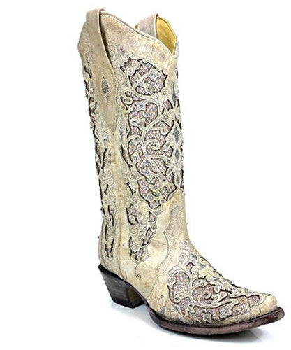 Corral Women's White Glitter Inlay Snip Toe Boot- Style #A3322