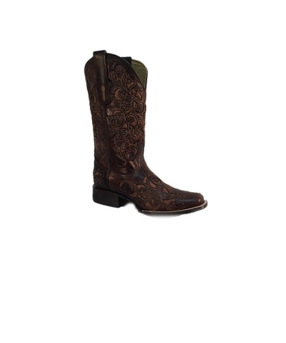 CORRAL WOMEN'S EMBROIDERED BROWN INLAY & STUDS BOOT- STYLE #A3326