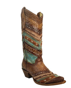 Corral Women's Embroidered Braided Studded Snip Toe Boot- Style #A3381