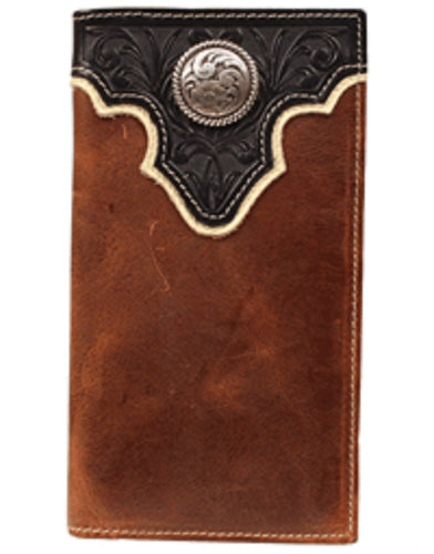 M&F WESTERN ARIAT RODEO WALLET - STYLE #A35102129 - BLACK/BROWN
