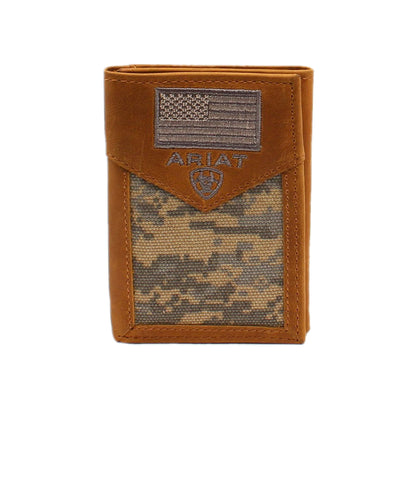 M&F Western Men's Ariat Green Digital Camo Trifold Wallet- Style #A3536628