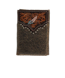 M&F Western Men's Ariat Embellished Feather Trifold Wallet- Style #A3539408