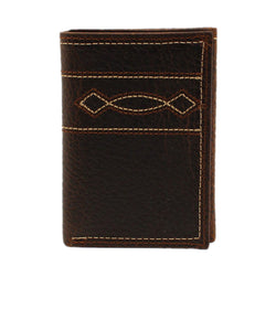 M&F Western Men's Ariat Tan Boot Stitch Trifold Wallet- Style #A3539602