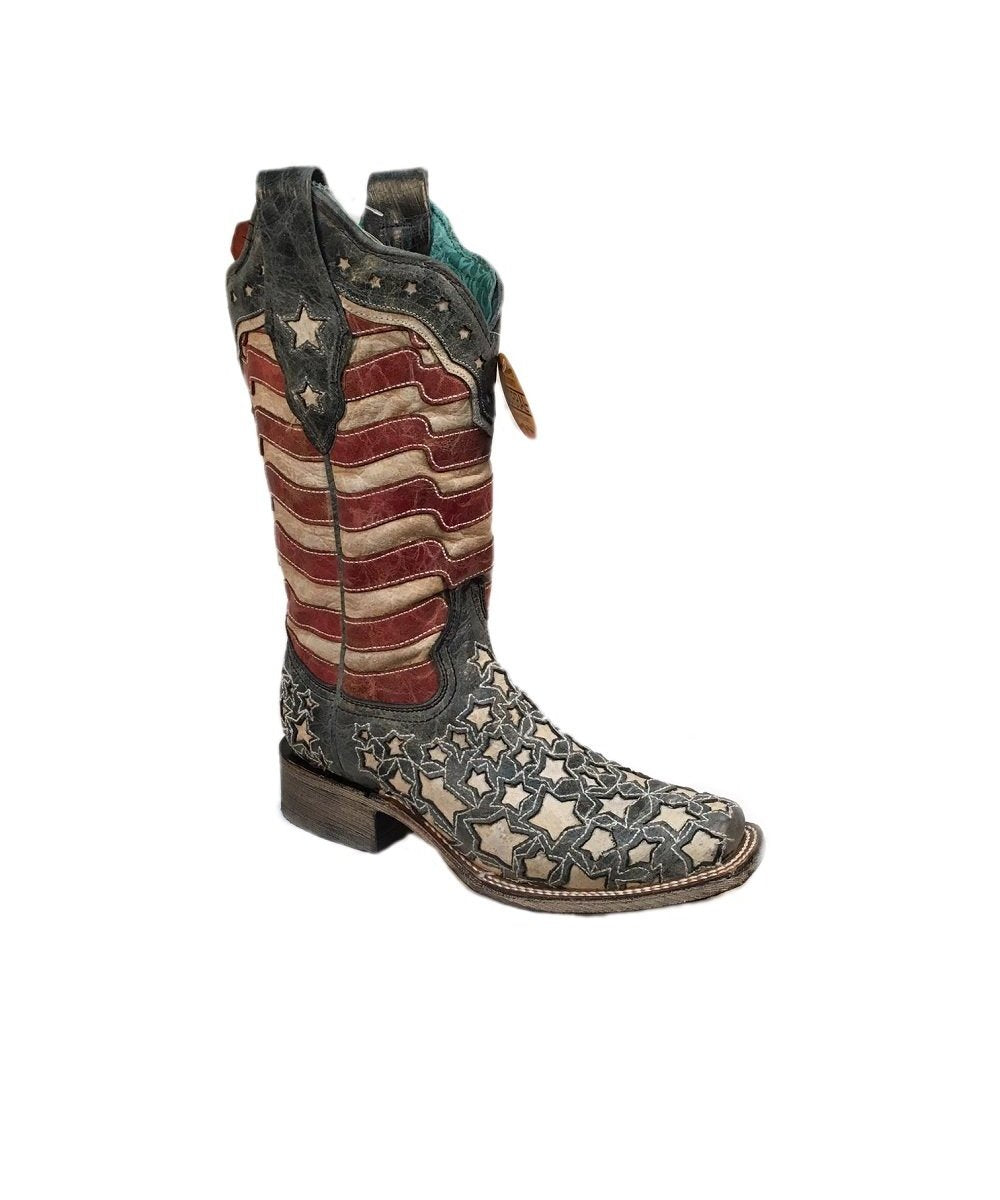 Corral Women's Blue Jean Stars And Stripes Inlay Boot- Style  #A3758-AMERICANA