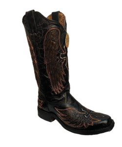 Corral Women's Black Wings And Cross Inlay Boot- Style #A3797