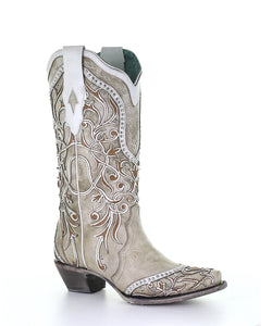 Corral Women's White Overlay Studded Boot- Style #A3837