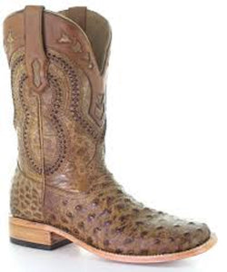 Corral hombres Ostrich Overlay Square Toe Boot-Style #A4008