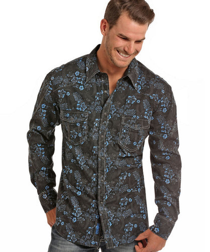 ROCK & ROLL COWBOY MEN'S LONG SLEEVE SNAP SHIRT - STYLE #B2S6021