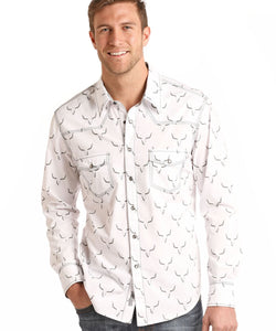 ROCK & ROLL COWBOY MEN'S LONG SLEEVE SNAP SHIRT - STYLE #B2S6041