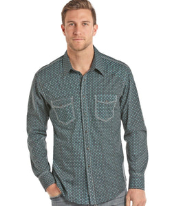 PANHANDLE SLIM MEN'S ROCK & ROLL COWBOY POPLIN PRINT SNAP SHIRT- STYLE #B2S7030