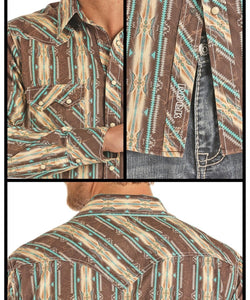 PANHANDLE MEN'S ROCK AND ROLL COWBOY AZTEC PRINT SNAP SHIRT- STYLE #B2S9117-86 TURQUOISE