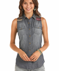 Panhandle Women's Rock & Roll Cowgirl Sleeveless Denim Snap Shirt- Style #B5S1185