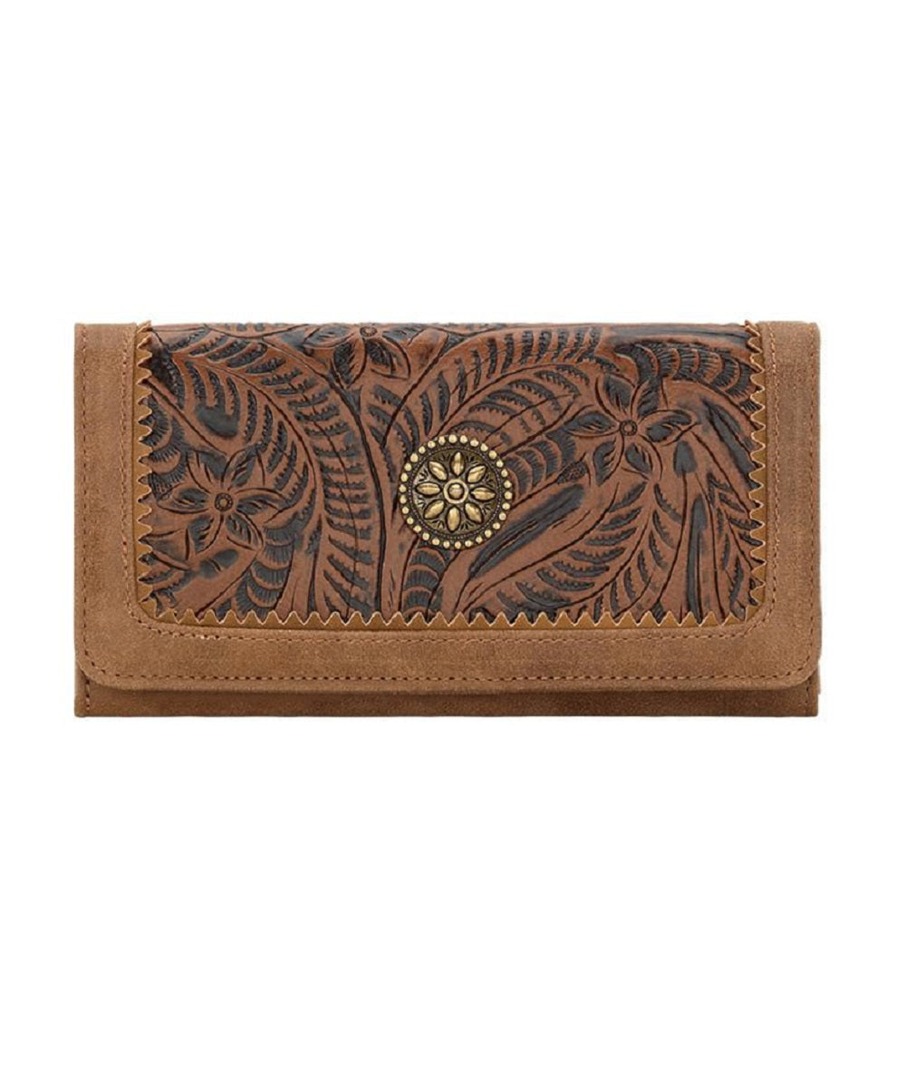 BANDANA DARK BROWN TOOLED WALLET - B692218 - DRK BROWN