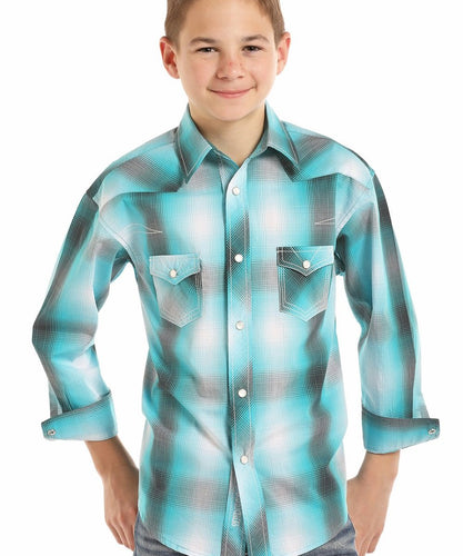 PANHANDLE SLIM BOYS' ROCK & ROLL COWBOY PLAID SNAP SHIRT- STYLE #B8S8019