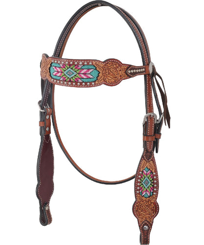 Rafter T Ranch Beaded Browband Headstall- Style #BB3569