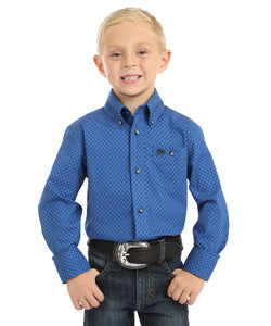 Wrangler Boys' Blue And Black Classic Button Down Shirt- Style #BG0082A-BLUE/BLACK