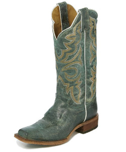 JUSTIN WOMEN'S SQUARE TOE KATIA TURQUOISE BOOTS - STYLE #BRL452