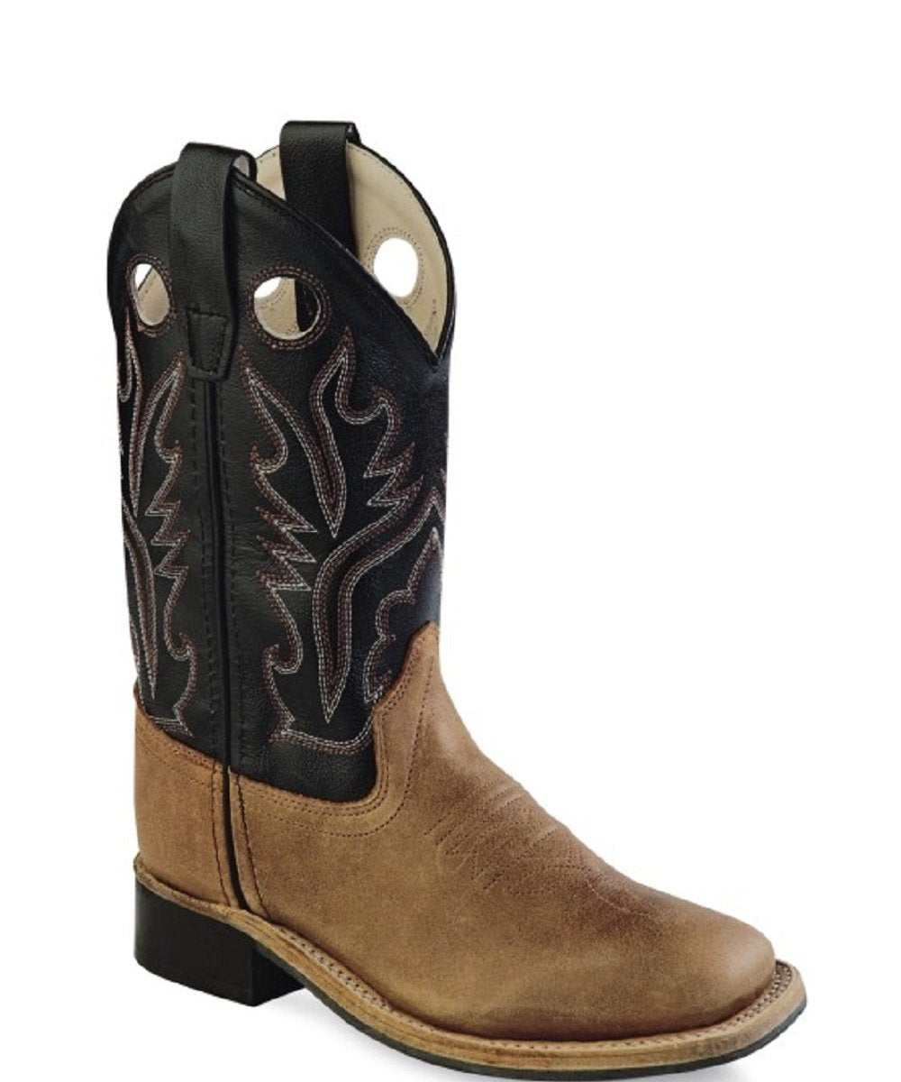 Old West Youth Brown And Black Corona Calf Leather Boot- Style #BSY1814