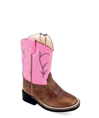 Old West Girls' Pink Square Toe Boot- Style #BSI1869