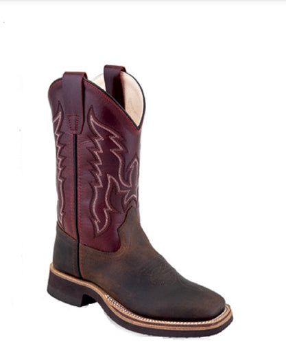 Old West Youth Leather Broad Square Toe Boot- Style #BSY1889