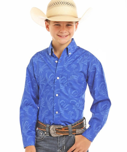 PANHANDLE BOYS' PANHANDLE SELECT BRUSHED POPLIN PRINT BUTTON DOWN SHIRT- STYLE #C0D5639