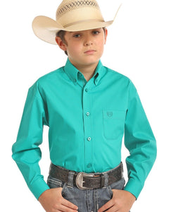 PANHANDLE BOYS' PANHANDLE SELECT JADE BUTTON DOWN SHIRT- STYLE #C0D6529 - 34 JADE