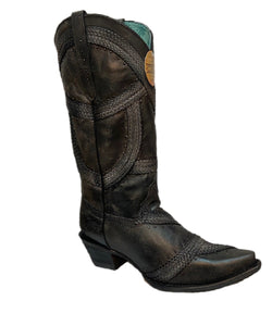 Corral Women's Black Braided And Studded Western Boot- Style #C3180