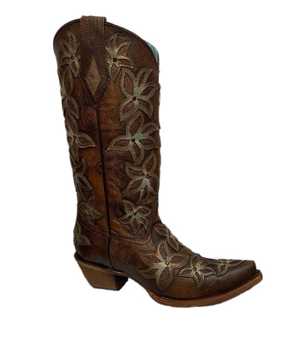 Corral Women's Honey And Green Floral Overlay Snip Toe Boot- Style #C3461