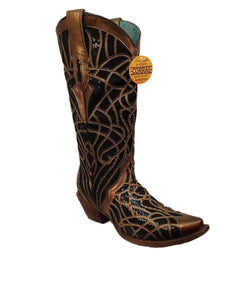 Corral Women's Gold And Black Glitter Inlay Boot- Style #C3513-GOLD/BLACK GLITTTER