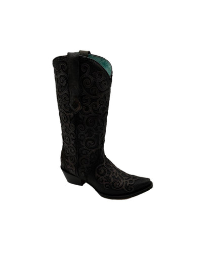 Corral Women's Gray Lamb Overlay And Embroidered Boot-Style #C3743