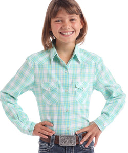 Panhandle Slim Girls' Plaid Snap Shirt- Style #C6S9776-88-LIGHT TURQUOISE