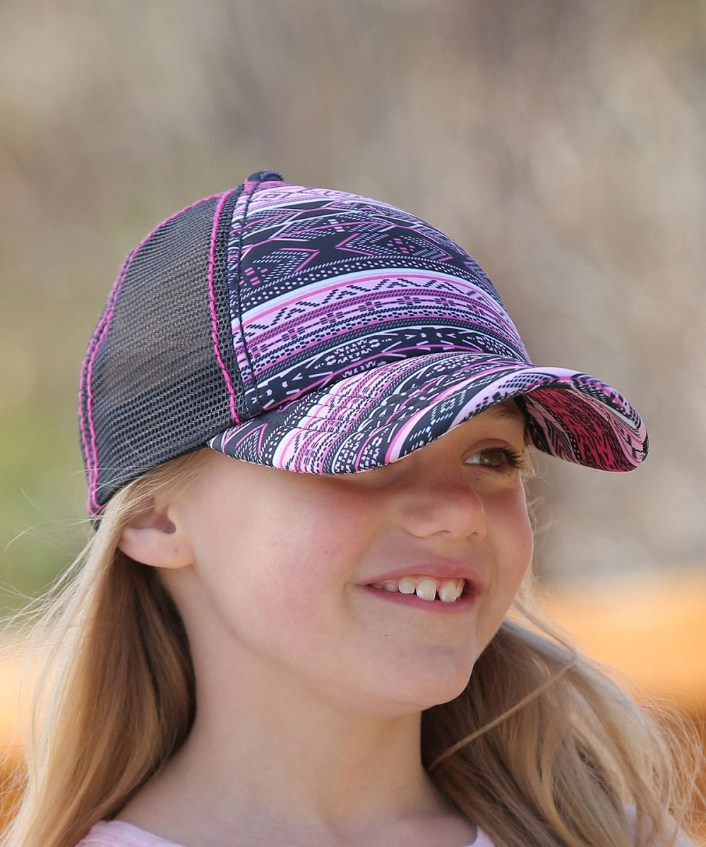 Cruel Girl Girls' Pink And Black Aztec Print Cap- Style #CCC0042001
