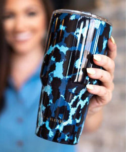 Lucky & Blessed Blue Leopard Print Tumbler- Style #CUP-BLLP
