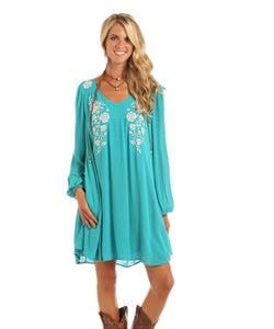 ROCK & ROLL COWGIRL WOMEN'S TEAL FLORAL EMBROIDERY DRESS- STYLE #D4-5807