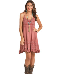 ROCK&ROLL COWGIRL JUNIORS STRAP DRESS - STYLE #D5-6775 - 90 RUST