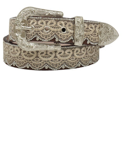 M&F Western Women's Tan Cream Lace Belt- Style #DA3650