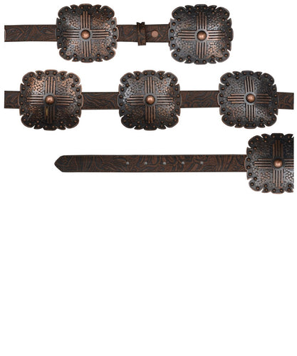 M&F Western Women's Floral Embossed Copper Concho Belt- Style #DA3668