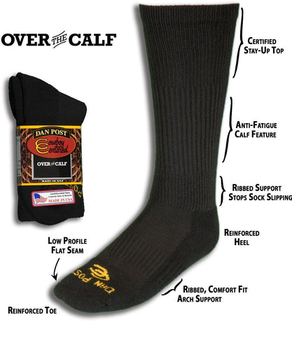 DAN POST MEN'S OVER THE CALF BLACK OR WHITE SOCKS- STYLE #DPCBC