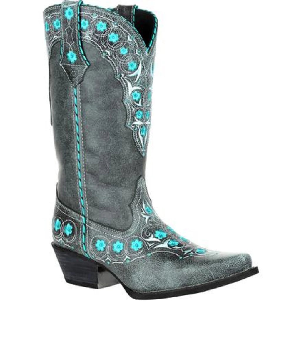 Durango Women's Crush Blue Floral Western Boot- Style #DRD0363