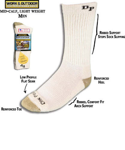 DAN POST MEN'S MID CALF LIGHT WEIGHT WORK SOCK- STYLE #DWL
