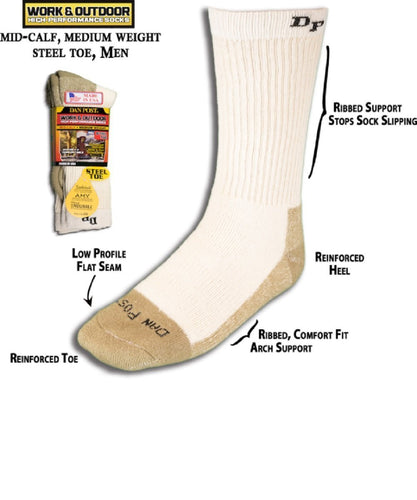 DAN POST MEN'S MEDIUM WEIGHT STEEL TOE WORK SOCK- STYLE #DWMS