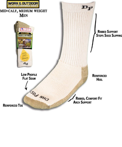 DAN POST MEN'S MID CALF MEDIUM WEIGHT WORK SOCK- STYLE #DWM