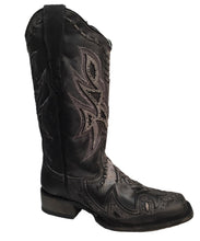 Corral Women's Distressed Black Woven Overlay Leather Boot- Style #E1268