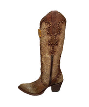 Corral Women's Embroidered And Studded Cognac Western Boot- Style #E1456