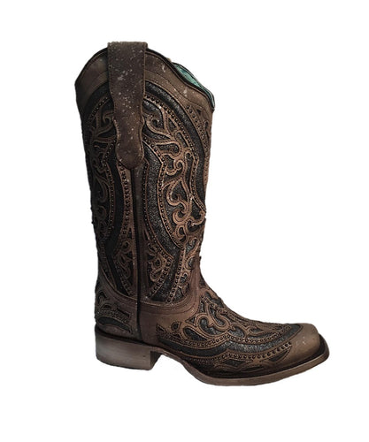 Corral Women's Brown And Metallic Gray Inlay Western Boot- Style #E1512