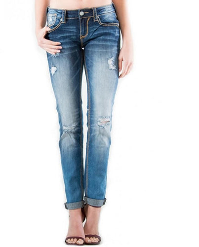 GRACE IN LA WOMEN'S PLAIN DISTRESSED SKINNY JEANS - STYLE #EN51060