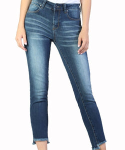 Grace in La Women's Medium Wash Frayed Skinny Jean- Style #EN9245